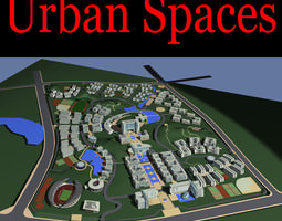 3d urban designed city with pool