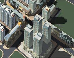 posh urban city design with classy buildings 3d