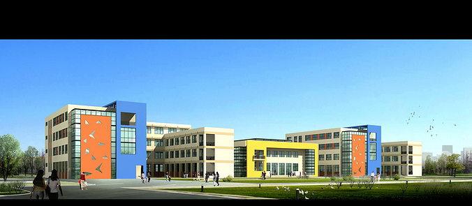 Large School Building Design 3d Model Max 3ds Dwg 3