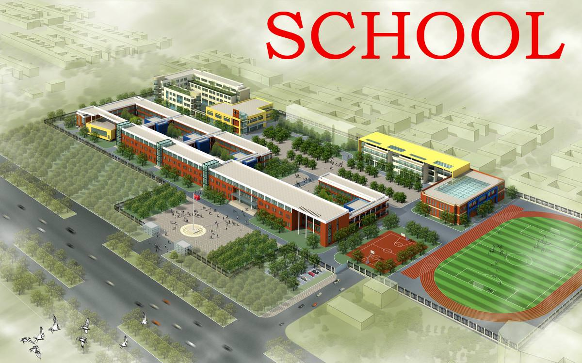 School Building Design With Playground 3d Model Max 3ds 1