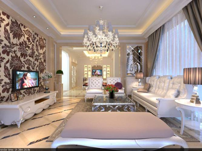 posh drawing room with ritzy wall decor 3d model max 1