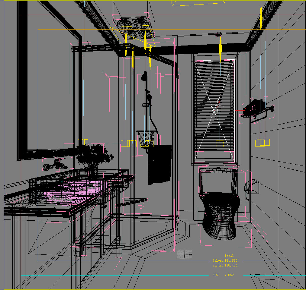 Eminent bathroom decor 3d model max for Model home bathroom decor