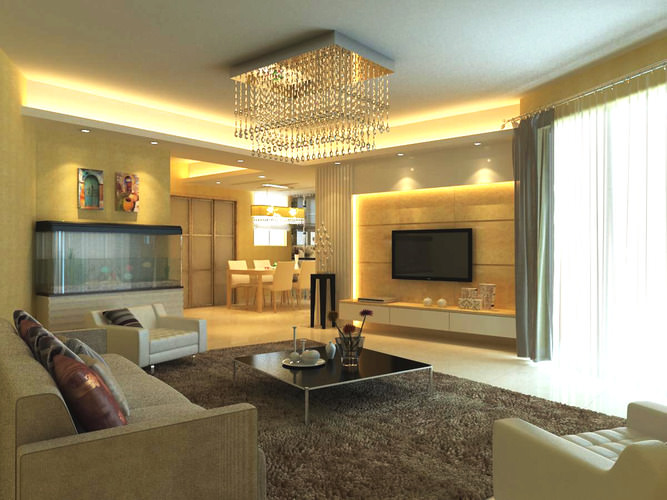 classy living room with ritzy chandelier 3d model max 1