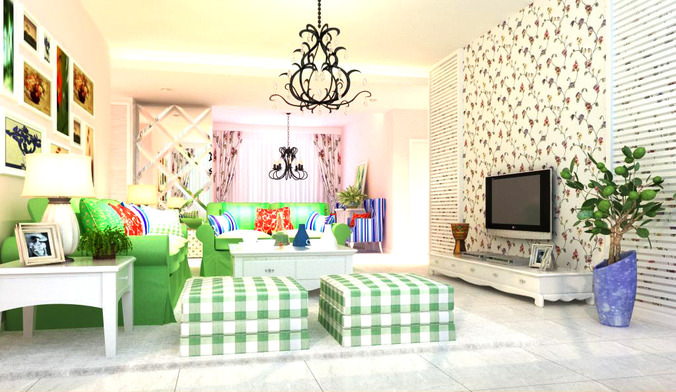 High End Living Room With Chequered Couch 3D Model MAX