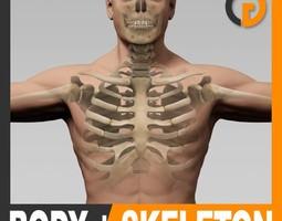 human male body and skeleton - anatomy 3d model max obj 3ds fbx c4d lwo lw lws
