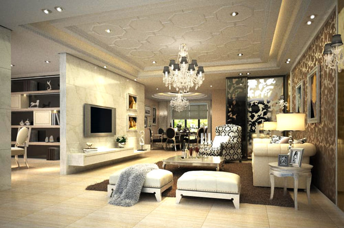 High end living room with eminent wall art 3d model max