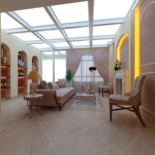High End Living Room With Skylight 3d Cgtrader