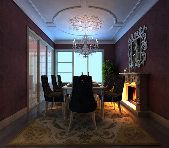eminent dining room with high-end chandelier 3d model max 1