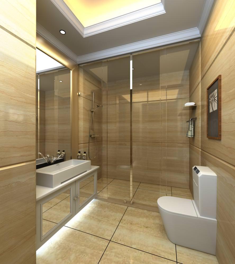 Ritzy bathroom with classy decor 3d model max for Model home bathroom decor