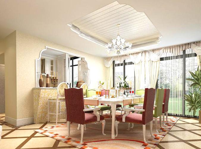 Dining room with modern interior 3d model max for Dining room 3d max model