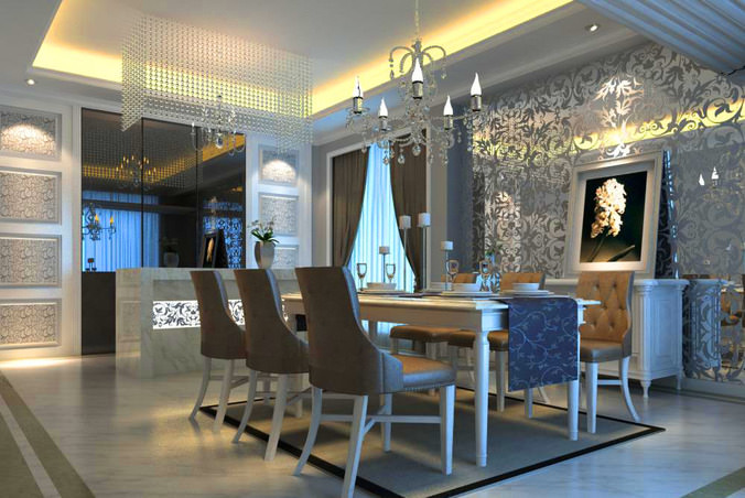 Eminent dining room with posh wall decor 3d model max for 3d dining room wall art