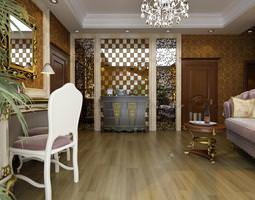 exotic living hall with ritzy interior 3d