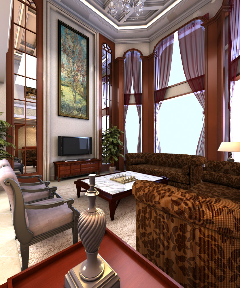 Exotic Living Room With Ritzy Furniture 3d Model Max 1 ...