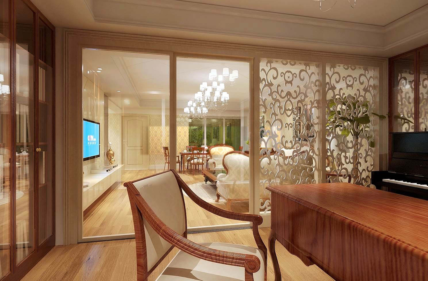 living room with lavish partition design 3d model max