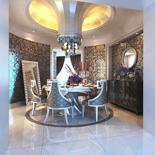 3d eminent dining room with wall decor cgtrader for 3d dining room wall art