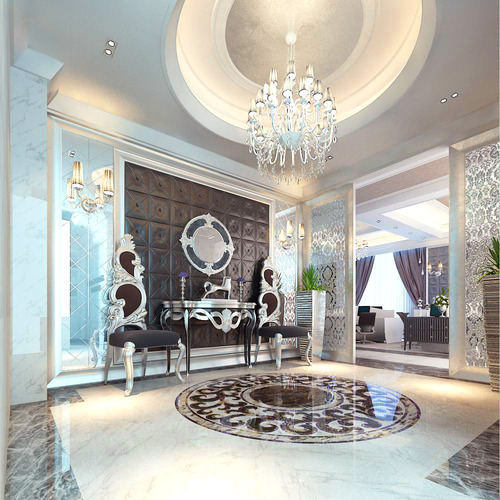 Model Luxury Home Interiors: 3D Home Hall Room With Luxury Chandelier