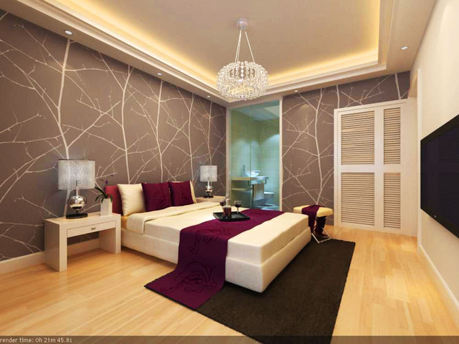 Bedroom with lavish wall design 3d model max for Bedroom designs 3d model