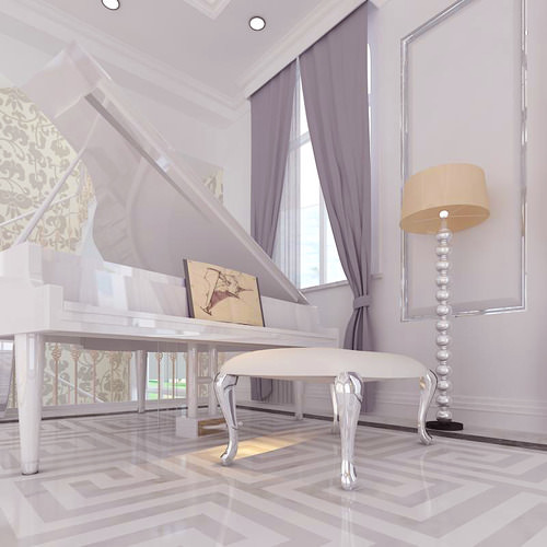 fancy piano space with lamp 3d model max 1