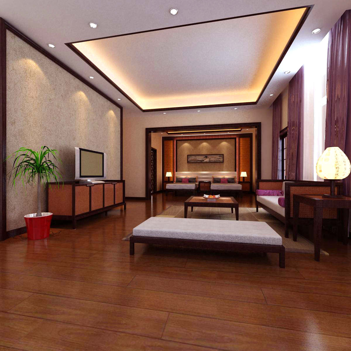 Living Room With Fancy Curtains 3d Model