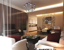 3d living room with high-end wall and rug