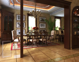 3D Fancy Dining Room with Floral Rug