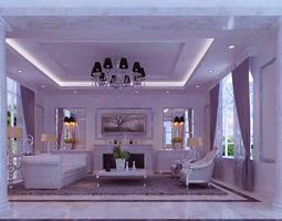 Modern Living Room with Florid Interior 3D model