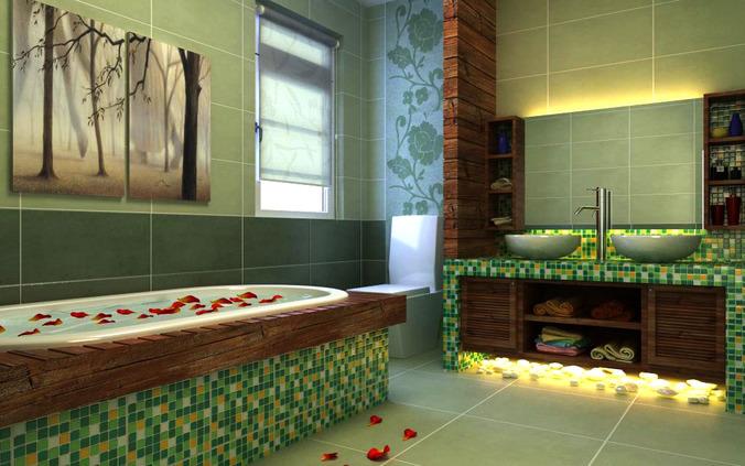 3d model home bathroom with designer bathtub cgtrader for Bathroom design 3d model