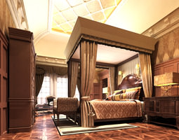 3D model Home Bedroom with Ceiling Decor