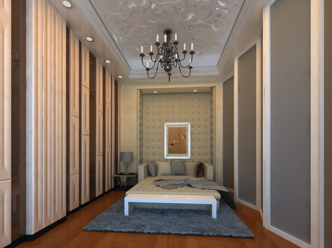 Home bed room with designer interior 3d model max 3d room maker