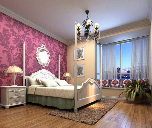 Home bedroom with purple wall decor 3d model max for 3d model decoration