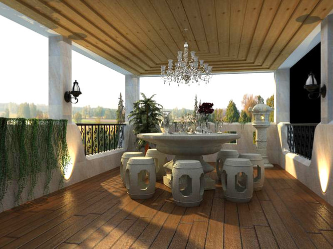 3d home balcony with dining table cgtrader for Restaurants with balcony