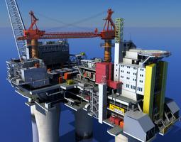 oil gas platform 3d