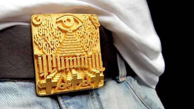 illuminati belt buckle 3d model stl 1