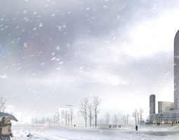 winter cityscape with snow falling 862 3d models