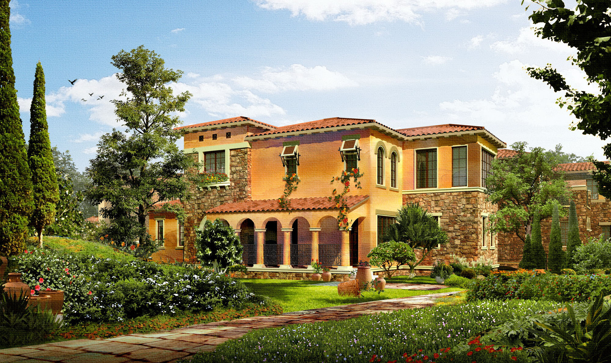 Luxury mansion day night 668 3d models 3d model max for Luxury home models