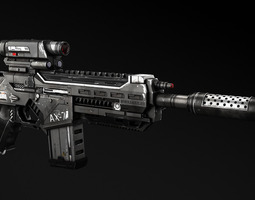 ax-7 assault rifle 3d