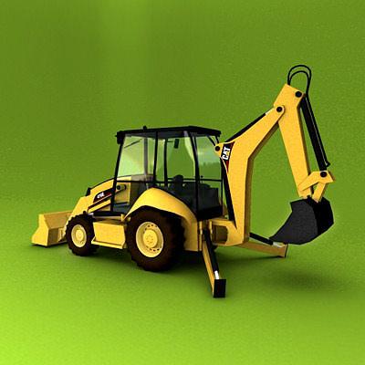 backhoe loader 416e 3d model max obj mtl 3ds c4d lwo lw lws dxf 1