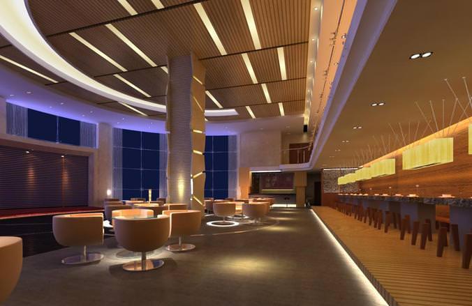 D model restaurant with designer furniture cgtrader