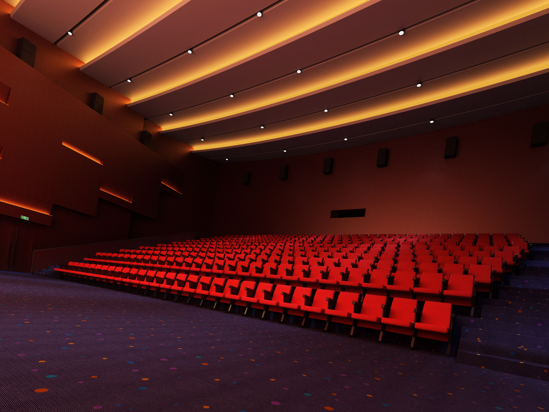 Fully carpeted grand theatre 3d model max 3ds for Theatre model