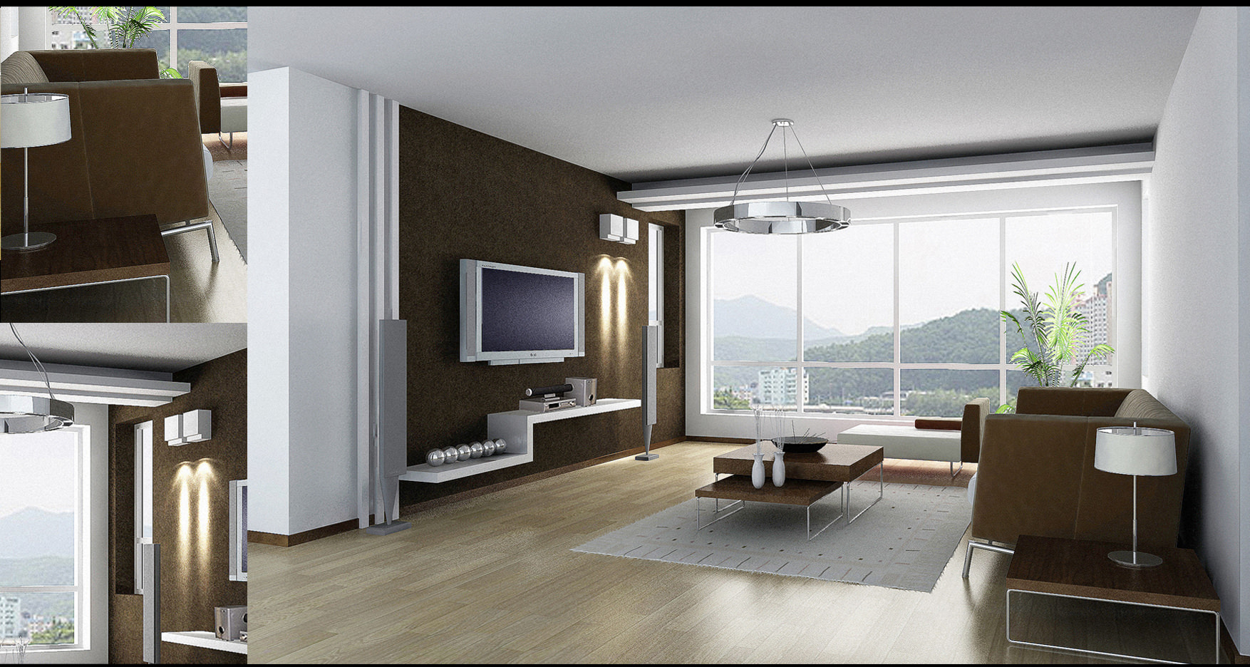 Living Room With Posh Couch And View 3d Model Max 1 ... Part 38
