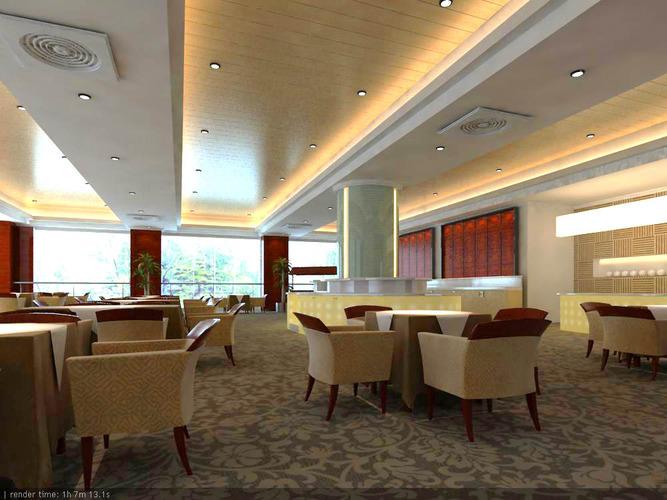 Restaurant with designer carpet and ceiling d model max