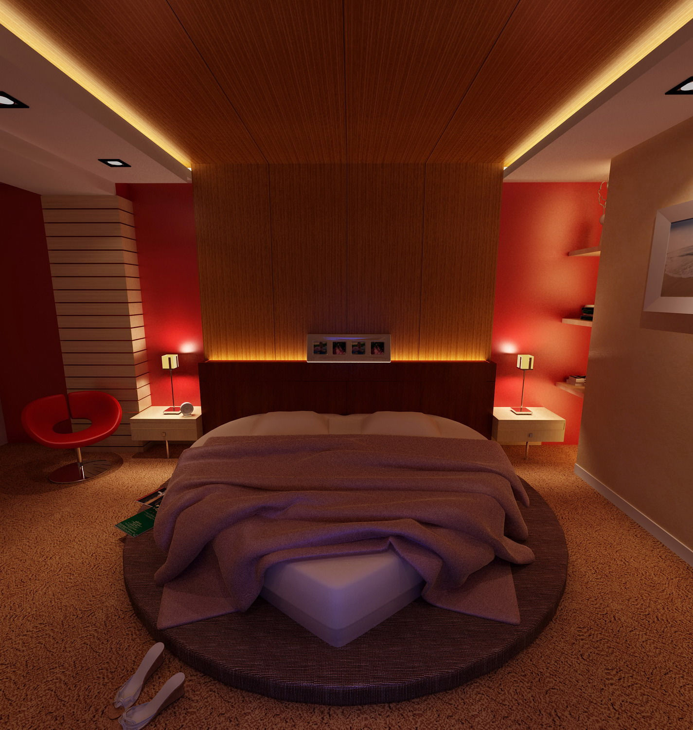 Amazing ... Bedroom With Heart Shaped Bed 3d Model Max 2 ...