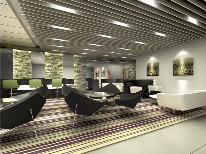 Office With Striped Carpet And Ceiling 3D Model MAX