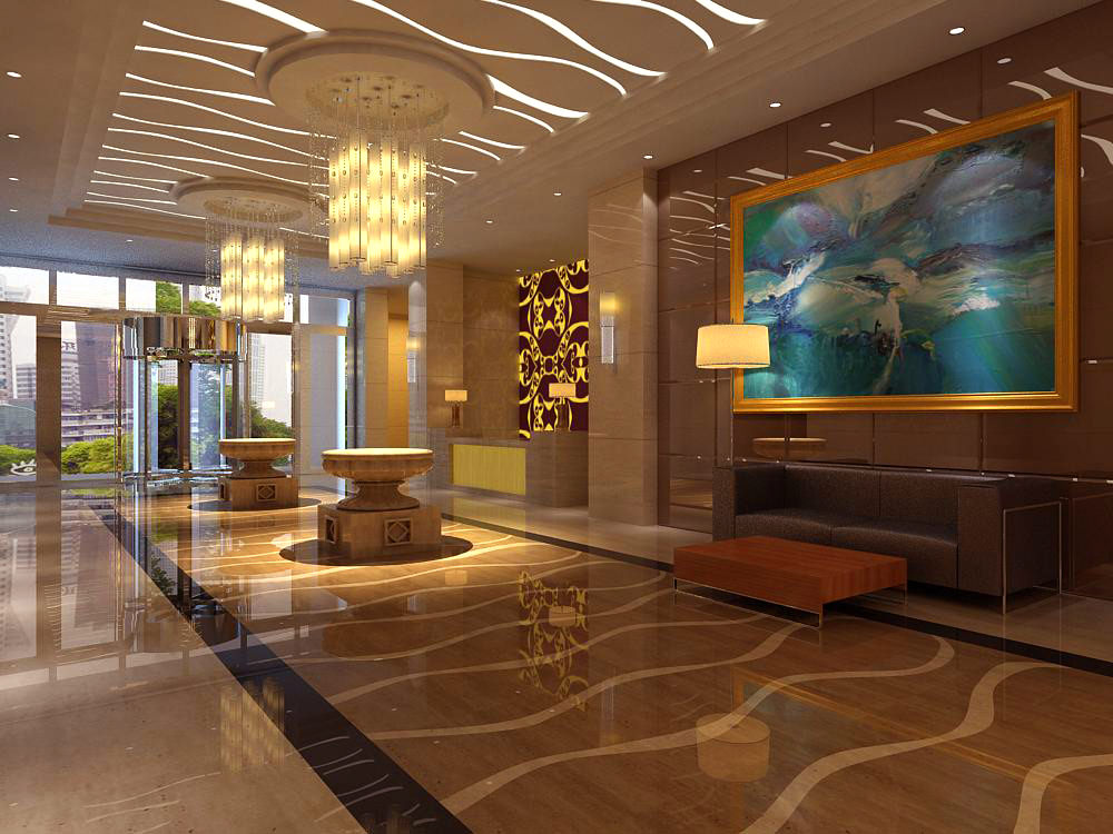 lobby with wall painting and designer walls 3d model max 1 - Designer Walls