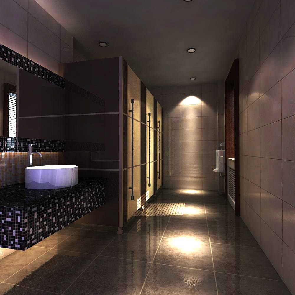 Public Toilet With Designer Interior 3d Model Max 1