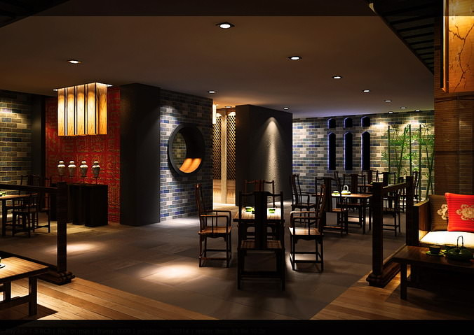 Bar with authentic wall decoration 3d model cgtrader for Decoration lounge bar nimes