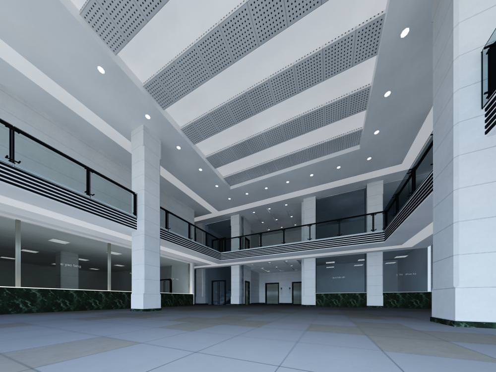 Lobby With Large Glass Walls 3d Model Max