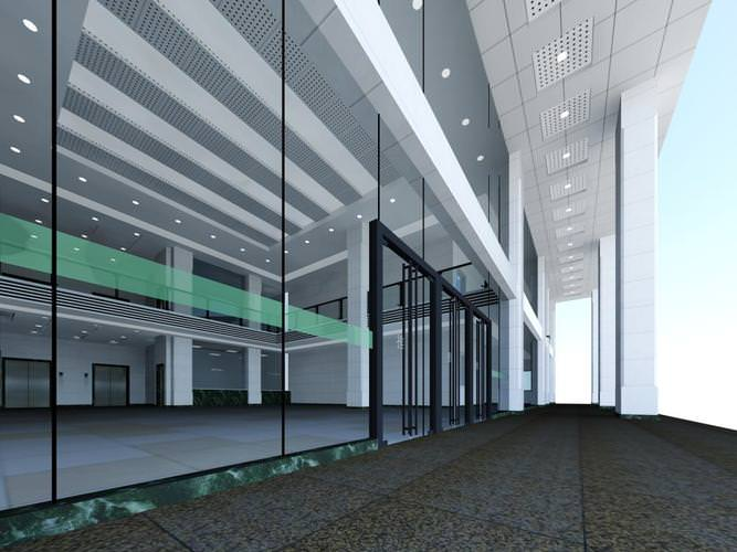 3d lobby with large glass walls cgtrader for Large glass wall