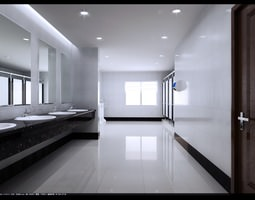 Spacious Polished Public Toilet 3D