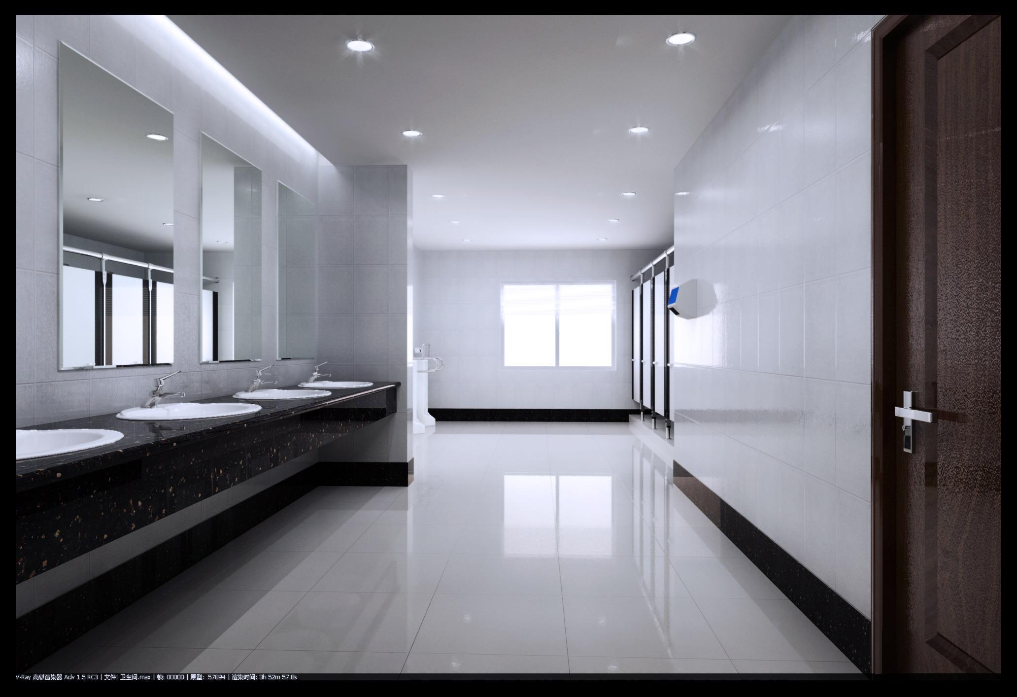 Spacious Polished Public Toilet 3d Model Max 3ds 1